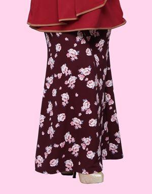 Adelia Skirt Printed : Maroon Floral