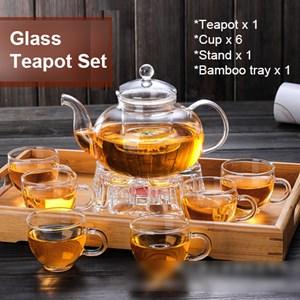 Glass teapot kung fu tea set filter heat-resistant household fruit flower pot