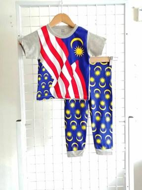 Pyjamas MALAYSIA FLAG Grey : Kids Size 2/3 ONLY