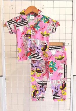 SIZE 8, 12 KIDS BUTTON  Pyjamas LITTLE PONY ADIDAS PINK (HF)