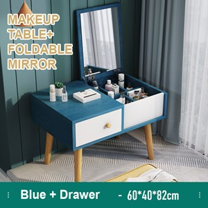 Simple Modern Wooden Mini Dressing Table Sitting Makeup Table With Mirror