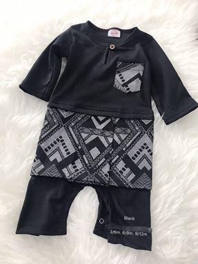 Rompers Baju Melayu ( Black with Geometric Sampin )