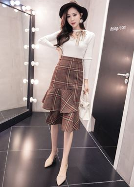 Irregular Woolen Skirt