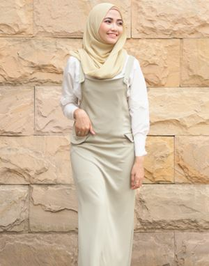 ADELINE OVERALL DRESS IN OLIVE GRAY