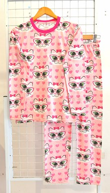 SIZE 3XL  DEWASA Pyjamas CUTE CAT LOVE PINK (JR)