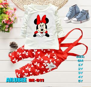 BE011 ( MINNIE RED-LONG SLEEVE ) AILUBEE BABY JUMPSUIT 2PCS SET