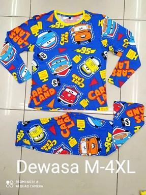 Pyjamas CARS LAND BLUE : Size DEWASA 2XL- 3XL