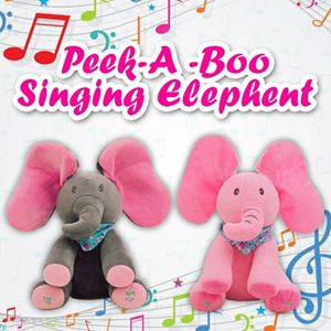 PEEK-A-BOO SINGING ELEPHANT SOFT TOYS