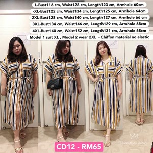 CD12 Ready Stock *Bust 46 to 55 inch/ 116-140cm