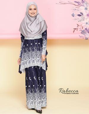 Rabecca Nursing Kurung - Navy Blue