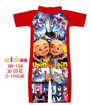 @  SW158 AILUBEE UPIN IPIN RED SWIMMING SUIT ( SZ 2-10Y )
