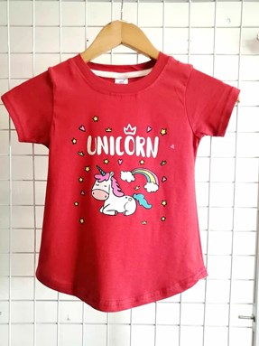 T-Shirt Short Sleeve UNICORN RAINBOW: Size 1y-6y (1 - 6 tahun) RS