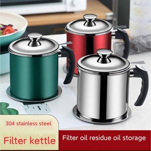 1.3 litter 304 Stainless Steel Oil Pot with Filter stainless steel oil pot stray kitchen cooking oil pot strainer storage