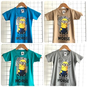 T-Shirt Boy Short Sleeve Minion: Size 2-8 (1 - 6 tahun)