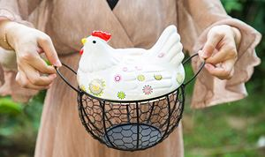 CERAMIC CHICKEN EGG BASKET - B