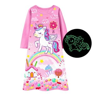 GIRLS UNICORN NIGHT GOWN GLOW IN THE DARK