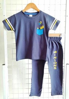 Pyjamas PLAIN MINION Dark Blue - Short Sleeve 1y-8y