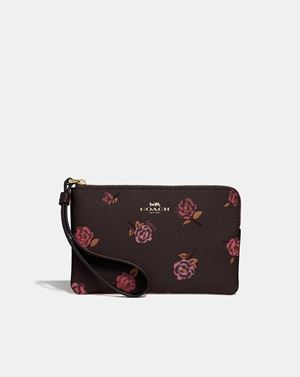 Corner Zip Wristlet With Tossed Peony Print