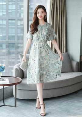 Green Chiffon Floral Dress