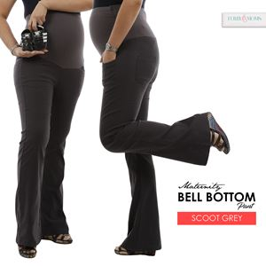 Maternity Bell Bottom Pant Mi - Soot Greey