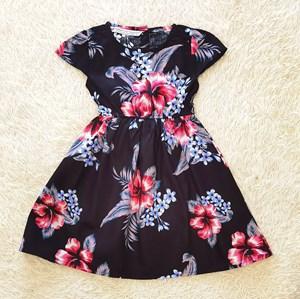 [SIZE 2Y - 3Y , 5Y - 6Y] Baby and Kids Dress RED HIBISCUS BLACK Brand KF