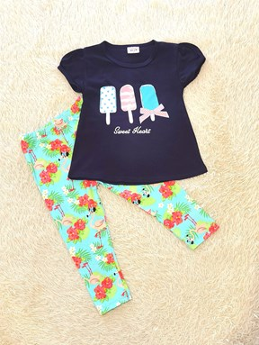 Girl Set NAVY ICE CREAM WITH BLUE PANT (9/12m - 5y)