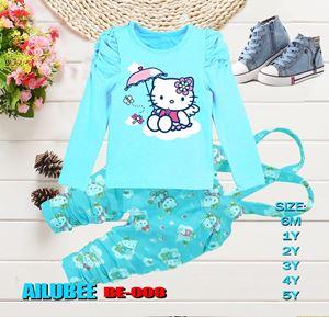 BE008 ( KITTY BLUE ) AILUBEE BABY JUMPSUIT 2PCS SET