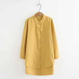Oversized Embroidered Shirt (Light Yellow)