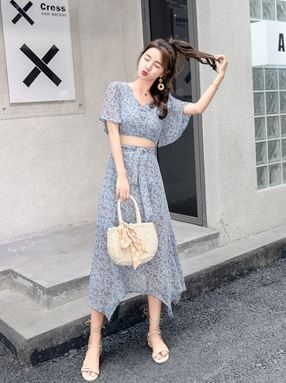Chic Floral Chiffon Dress