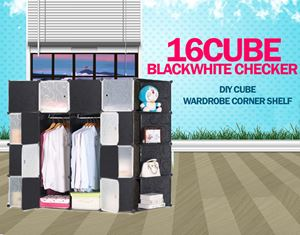 Plain Checker Black 16C DIY Cube w Corner Rack (BW16CR)