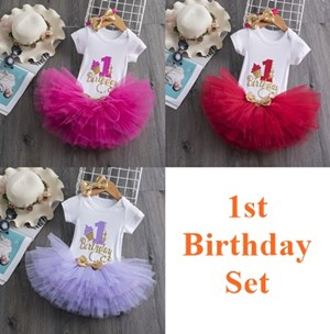 985827  1Year Old Baby Birthday ClotheS ( RED / PINK / PURPLE )