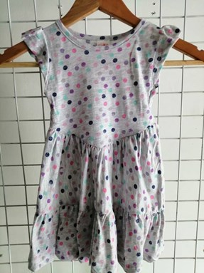 Princess Dress V2 : GREY WITH COLORFUL DOTS, size 2-4