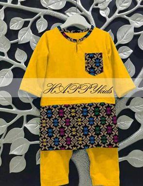 Baju Melayu Rompers - Songket Printed - Kuning