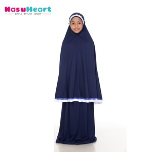 Telekung Rose Blue Black