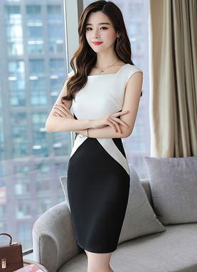 Black & White Short-Sleeve Dress