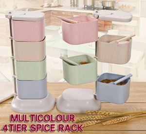 Multicolour 4tier spice rack