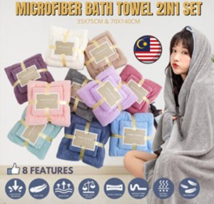 2 in 1 Set Coral Fleece / Set Tuala Viral Badan & Muka