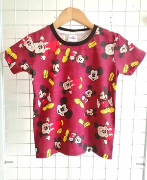 T-Shirt Short Sleeve MICKEY MAROON: Size 1y-6y (1 - 6 tahun) RS