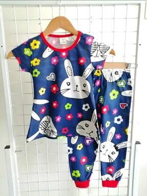 Pyjamas RABBIT FLOWER BLUE : BABY size 6M