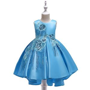 @  T5035 Girls Sequins Princess DresS - SKY BLUE    ( SZ 100-150 )
