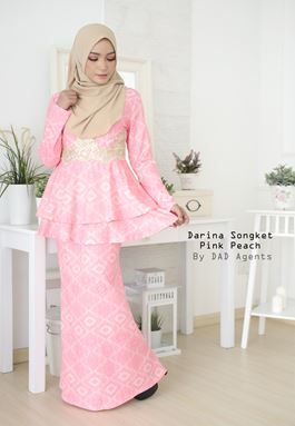 Peplum Songket Darina Pink Peach