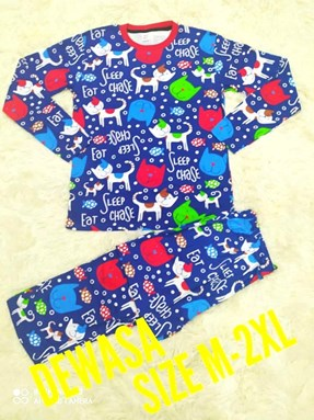 Pyjamas CAT BLUE : Size DEWASA L-XL