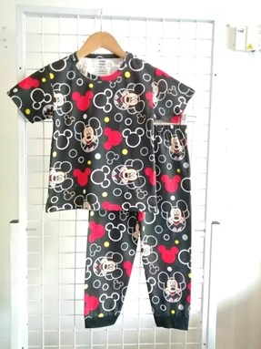 Pyjamas MICKEY Black : Kids Size 4/5 hingga 6/7