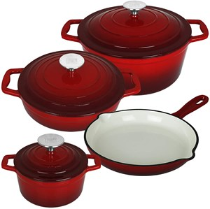 Enamel Cast Iron Pot 7pcs Cookware