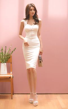 V-neck OL White Dress