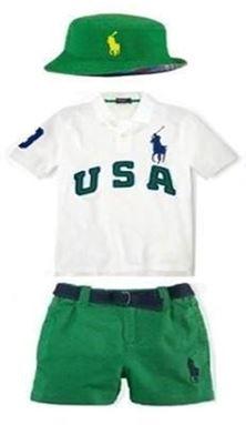 @   B021/13B  POLO 3 PCS SET ( WHITE SHIRT + GREEN SHORT + HAT )
