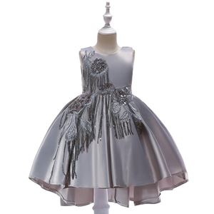 @  T5035 Girls Sequins Princess DresS - GREY    ( SZ 100-150 )