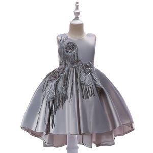 T5035 Girls Sequins Princess DresS - GREY    ( SZ 100-150 )