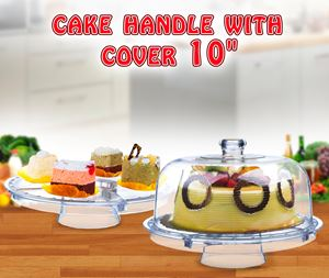 """CAKE STAND WITH COVER 10"""""""