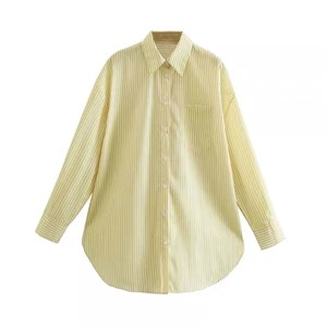 VERTICAL STRIPES YELLOW OVERSIZED SHIRT
